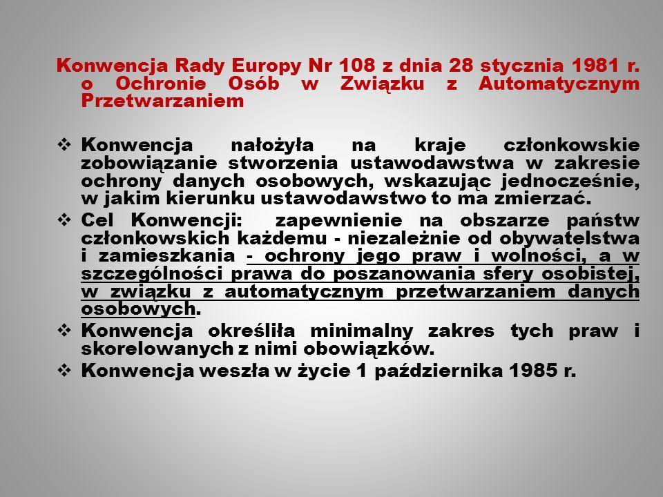 Konwencja Rady Europy Nr 108 z dnia 28 stycznia 1981 r.
