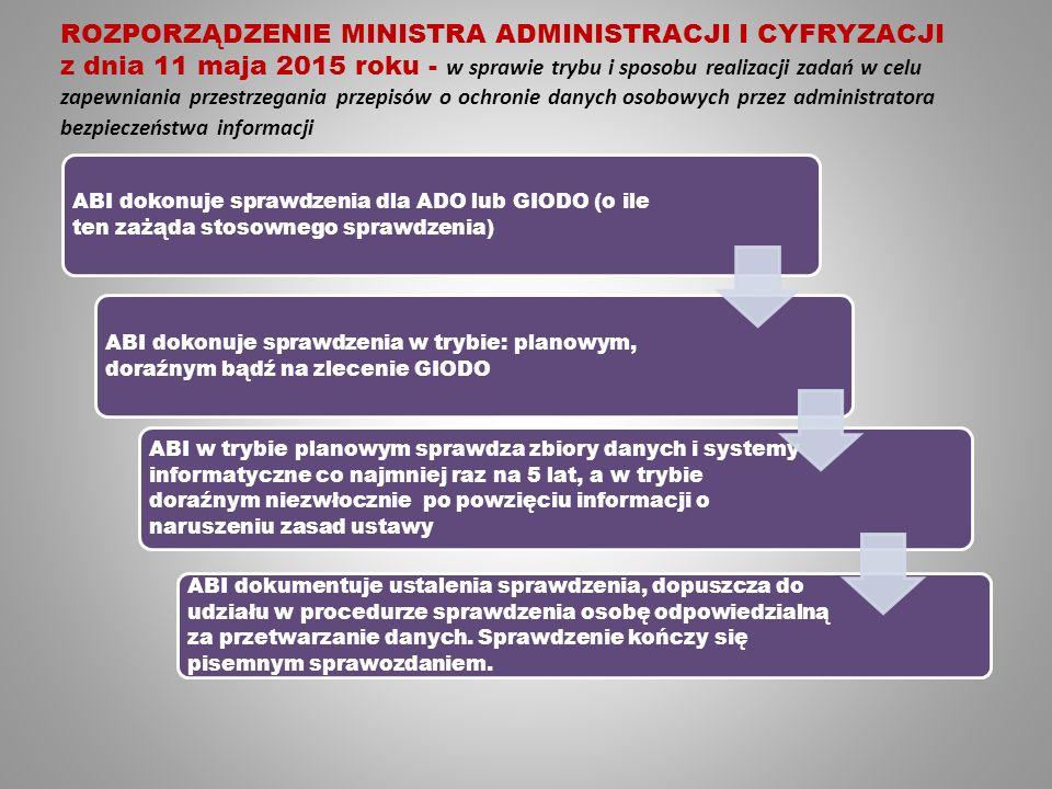 ROZPORZĄDZENIE MINISTRA ADMINISTRACJI I CYFRYZACJI z dnia 11 maja 2015 roku - w sprawie trybu i sposobu realizacji zadań w celu zapewniania przestrzegania przepisów o ochronie danych osobowych przez administratora bezpieczeństwa informacji ABI dokonuje sprawdzenia dla ADO lub GIODO (o ile ten zażąda stosownego sprawdzenia) ABI dokonuje sprawdzenia w trybie: planowym, doraźnym bądź na zlecenie GIODO ABI w trybie planowym sprawdza zbiory danych i systemy informatyczne co najmniej raz na 5 lat, a w trybie doraźnym niezwłocznie po powzięciu informacji o naruszeniu zasad ustawy ABI dokumentuje ustalenia sprawdzenia, dopuszcza do udziału w procedurze sprawdzenia osobę odpowiedzialną za przetwarzanie danych.
