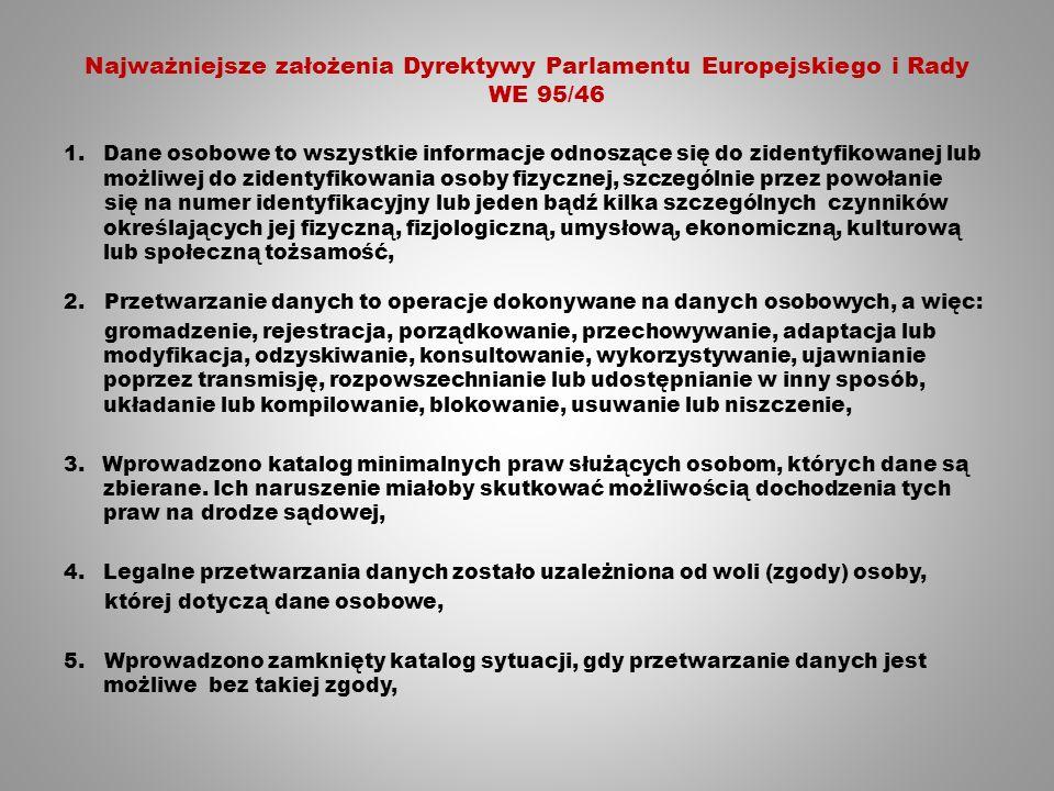 Najważniejsze założenia Dyrektywy Parlamentu Europejskiego i Rady WE 95/46 1.Dane osobowe to wszystkie informacje odnoszące się do zidentyfikowanej lub możliwej do zidentyfikowania osoby fizycznej, szczególnie przez powołanie się na numer identyfikacyjny lub jeden bądź kilka szczególnych czynników określających jej fizyczną, fizjologiczną, umysłową, ekonomiczną, kulturową lub społeczną tożsamość, 2.