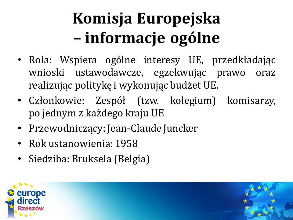 Komisja Europejska – informacje ogólne Rola: Wspiera ogólne interesy UE, przedkładając wnioski ustawodawcze, egzekwując prawo oraz realizując politykę i wykonując budżet UE.