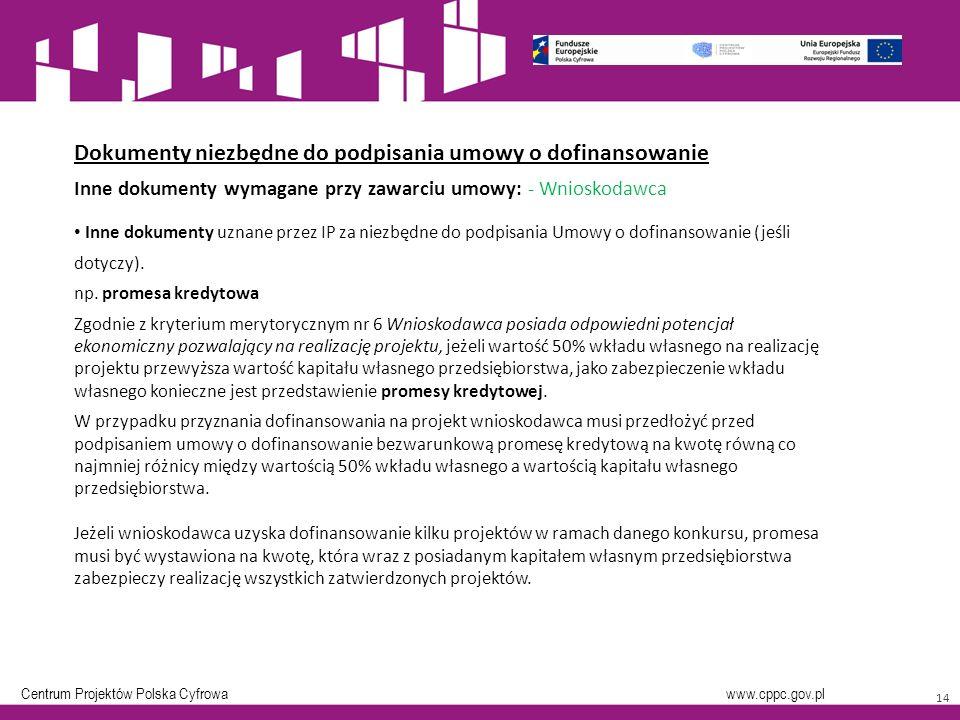Centrum Projektów Polska Cyfrowa www.cppc.gov.pl Inne dokumenty uznane przez IP za niezbędne do podpisania Umowy o dofinansowanie (jeśli dotyczy).