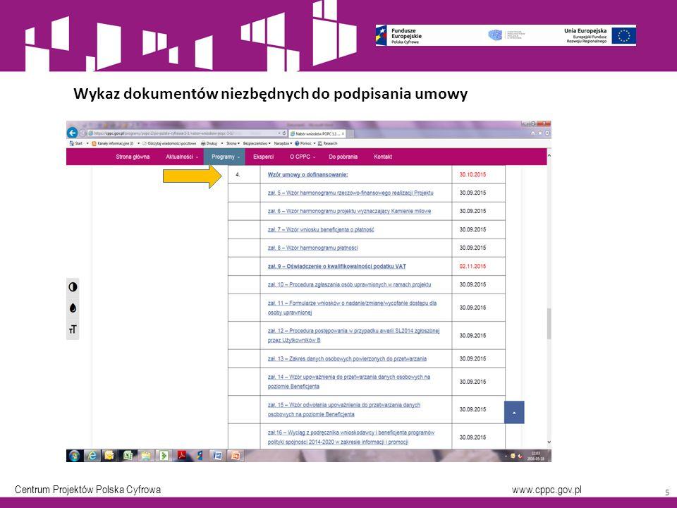 Centrum Projektów Polska Cyfrowa www.cppc.gov.pl 5 Wykaz dokumentów niezbędnych do podpisania umowy