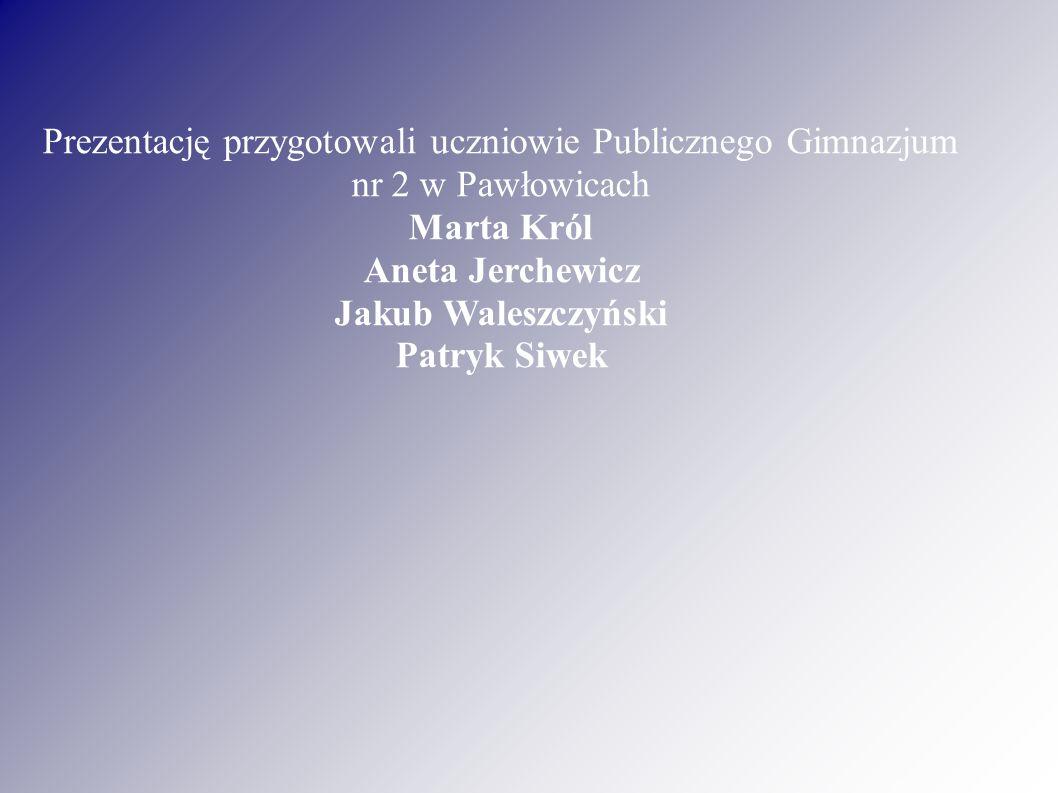 Prezentację przygotowali uczniowie Publicznego Gimnazjum nr 2 w Pawłowicach Marta Król Aneta Jerchewicz Jakub Waleszczyński Patryk Siwek