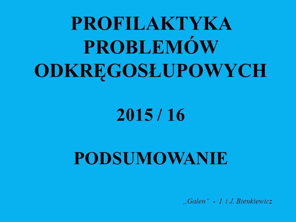 PROFILAKTYKA PROBLEMÓW ODKRĘGOSŁUPOWYCH 2015 / 16 PODSUMOWANIE,,Galen - I. i J. Bienkiewicz