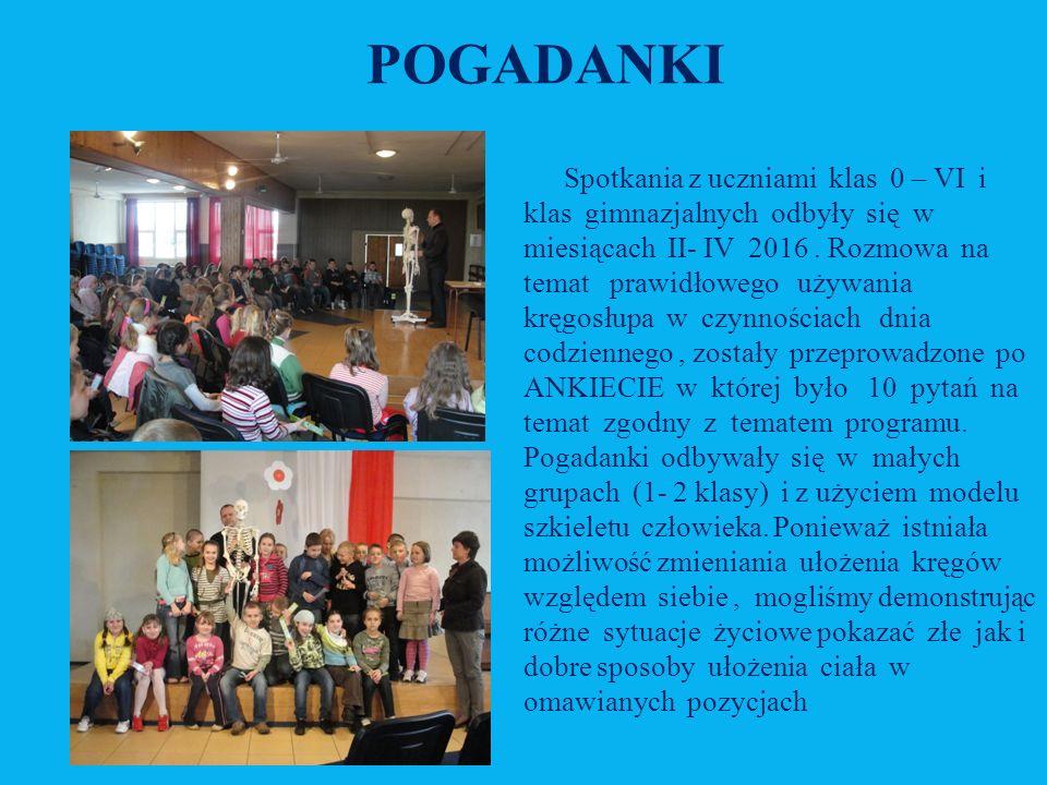 POGADANKI Spotkania z uczniami klas 0 – VI i klas gimnazjalnych odbyły się w miesiącach II- IV 2016.