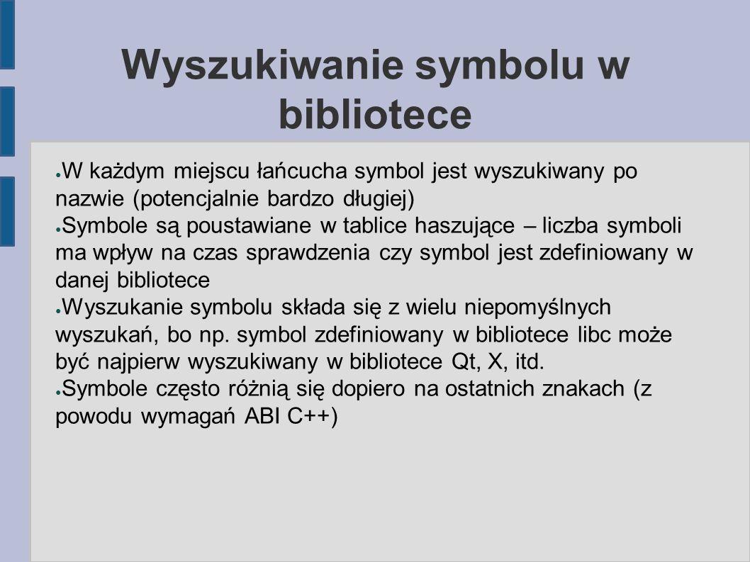 Wyszukiwanie symbolu w bibliotece ● W każdym miejscu łańcucha symbol jest wyszukiwany po nazwie (potencjalnie bardzo długiej) ● Symbole są poustawiane w tablice haszujące – liczba symboli ma wpływ na czas sprawdzenia czy symbol jest zdefiniowany w danej bibliotece ● Wyszukanie symbolu składa się z wielu niepomyślnych wyszukań, bo np.