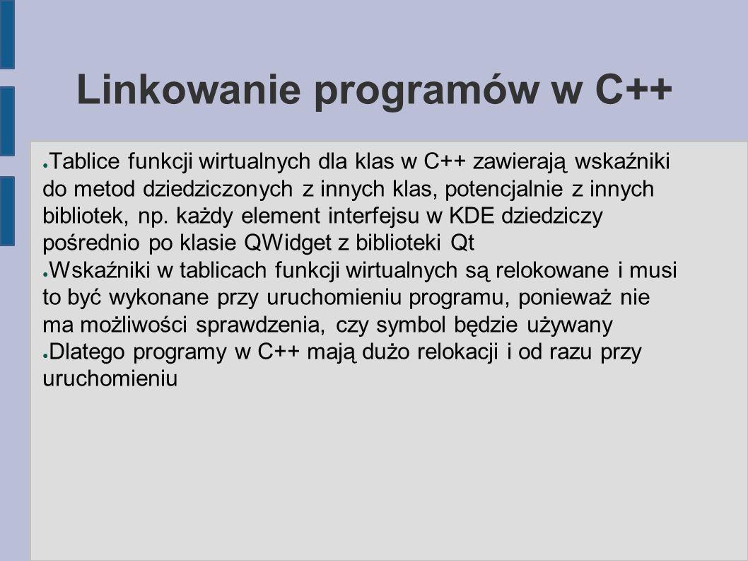 Linkowanie programów w C++ ● Tablice funkcji wirtualnych dla klas w C++ zawierają wskaźniki do metod dziedziczonych z innych klas, potencjalnie z innych bibliotek, np.