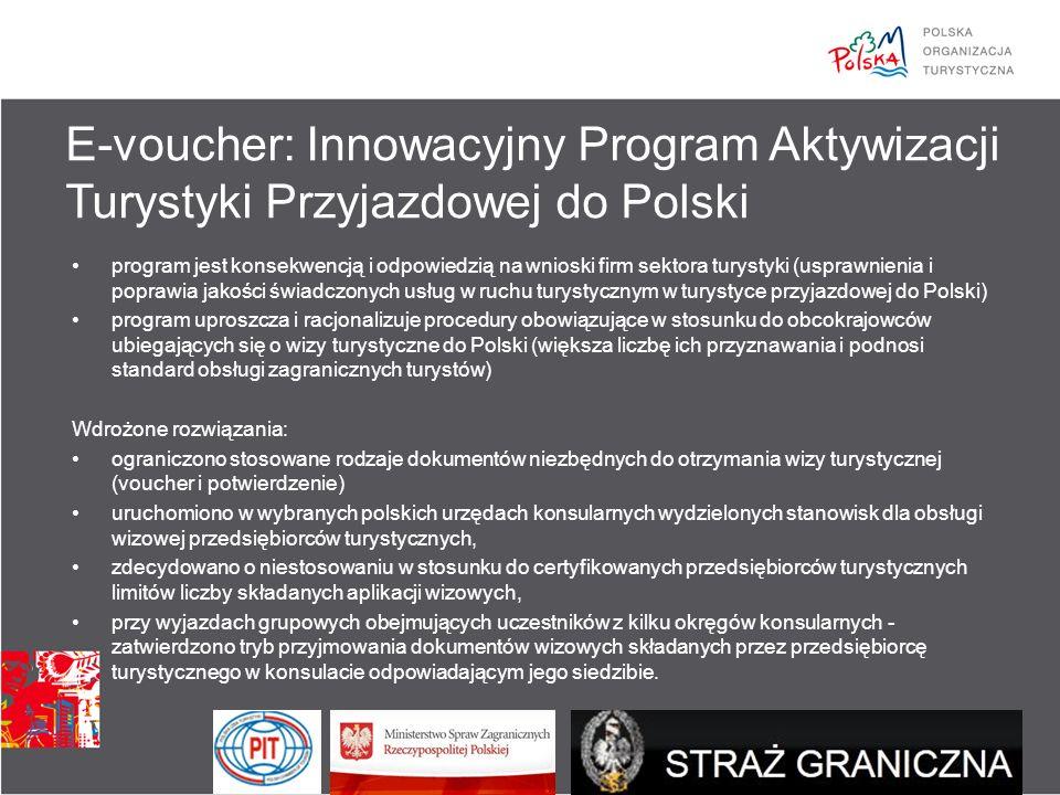 program jest konsekwencją i odpowiedzią na wnioski firm sektora turystyki (usprawnienia i poprawia jakości świadczonych usług w ruchu turystycznym w turystyce przyjazdowej do Polski) program uproszcza i racjonalizuje procedury obowiązujące w stosunku do obcokrajowców ubiegających się o wizy turystyczne do Polski (większa liczbę ich przyznawania i podnosi standard obsługi zagranicznych turystów) Wdrożone rozwiązania: ograniczono stosowane rodzaje dokumentów niezbędnych do otrzymania wizy turystycznej (voucher i potwierdzenie) uruchomiono w wybranych polskich urzędach konsularnych wydzielonych stanowisk dla obsługi wizowej przedsiębiorców turystycznych, zdecydowano o niestosowaniu w stosunku do certyfikowanych przedsiębiorców turystycznych limitów liczby składanych aplikacji wizowych, przy wyjazdach grupowych obejmujących uczestników z kilku okręgów konsularnych - zatwierdzono tryb przyjmowania dokumentów wizowych składanych przez przedsiębiorcę turystycznego w konsulacie odpowiadającym jego siedzibie.