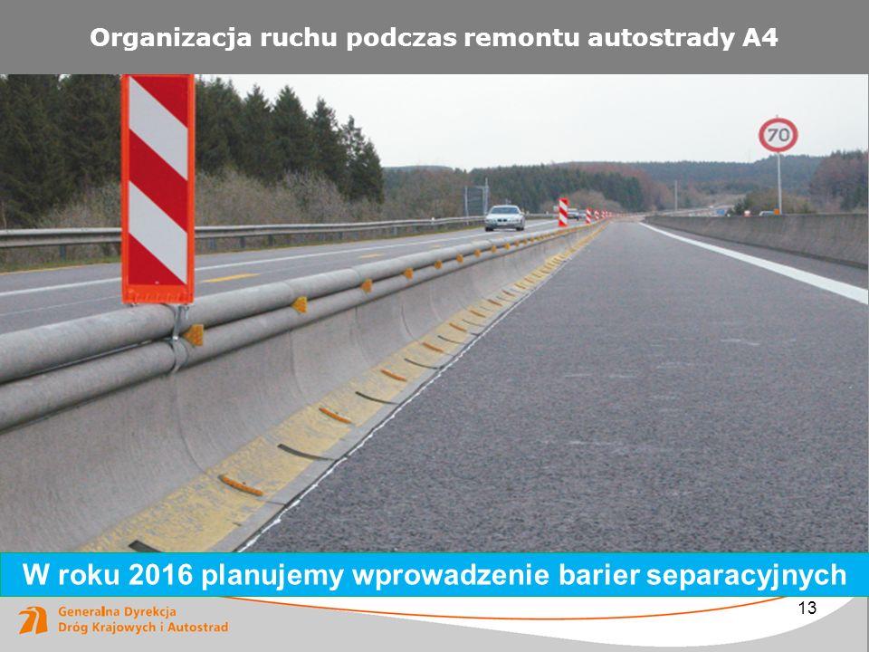 13 Organizacja ruchu podczas remontu autostrady A4 W roku 2016 planujemy wprowadzenie barier separacyjnych