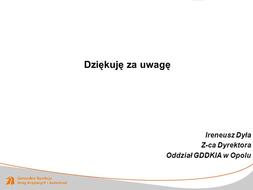Dziękuję za uwagę Ireneusz Dyła Z-ca Dyrektora Oddział GDDKIA w Opolu