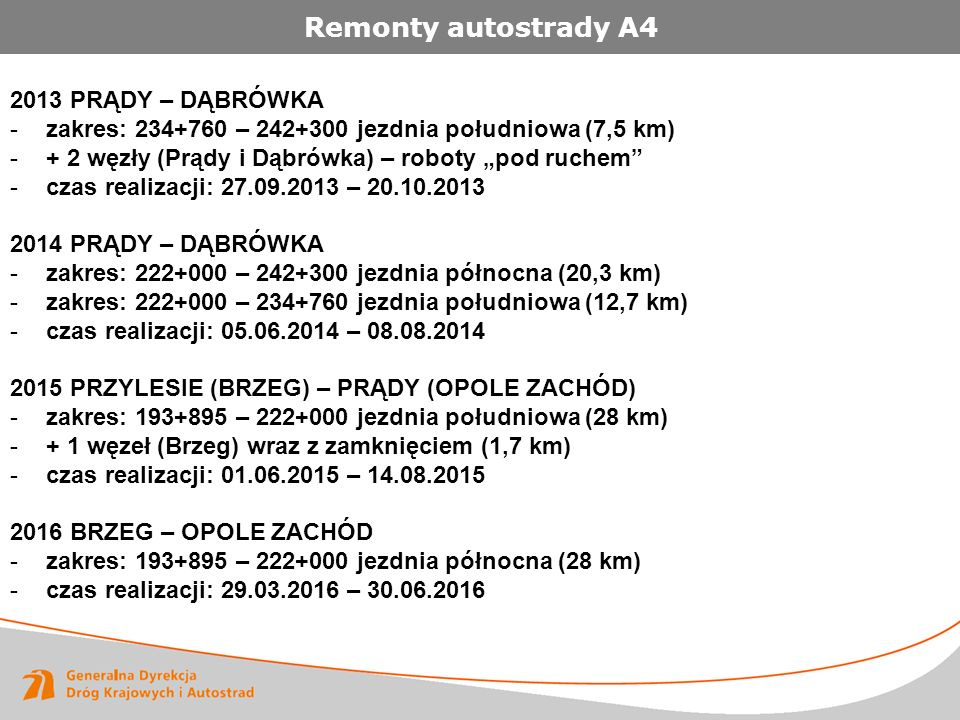 """Remonty autostrady A4 2013 PRĄDY – DĄBRÓWKA -zakres: 234+760 – 242+300 jezdnia południowa (7,5 km) -+ 2 węzły (Prądy i Dąbrówka) – roboty """"pod ruchem -czas realizacji: 27.09.2013 – 20.10.2013 2014 PRĄDY – DĄBRÓWKA -zakres: 222+000 – 242+300 jezdnia północna (20,3 km) -zakres: 222+000 – 234+760 jezdnia południowa (12,7 km) -czas realizacji: 05.06.2014 – 08.08.2014 2015 PRZYLESIE (BRZEG) – PRĄDY (OPOLE ZACHÓD) -zakres: 193+895 – 222+000 jezdnia południowa (28 km) -+ 1 węzeł (Brzeg) wraz z zamknięciem (1,7 km) -czas realizacji: 01.06.2015 – 14.08.2015 2016 BRZEG – OPOLE ZACHÓD -zakres: 193+895 – 222+000 jezdnia północna (28 km) -czas realizacji: 29.03.2016 – 30.06.2016"""