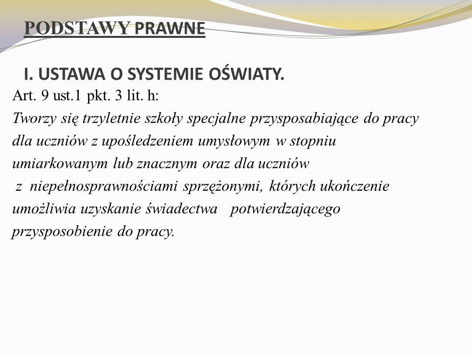 PODSTAWY PRAWNE I. USTAWA O SYSTEMIE OŚWIATY. Art.