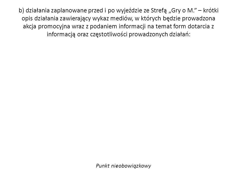 """b) działania zaplanowane przed i po wyjeździe ze Strefą """"Gry o M."""" – krótki opis działania zawierający wykaz mediów, w których będzie prowadzona akcja"""