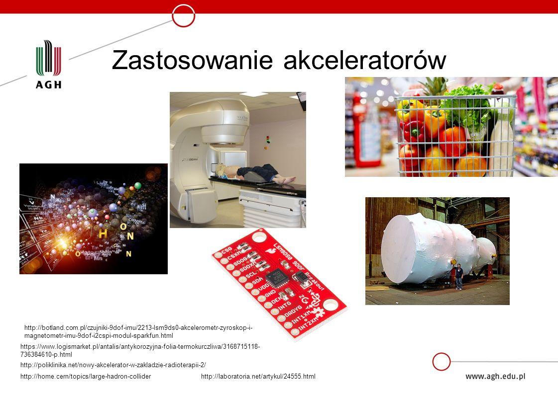 Zastosowanie akceleratorów http://home.cern/topics/large-hadron-collider http://poliklinika.net/nowy-akcelerator-w-zakladzie-radioterapii-2/ https://www.logismarket.pl/antalis/antykorozyjna-folia-termokurczliwa/3168715118- 736384610-p.html http://botland.com.pl/czujniki-9dof-imu/2213-lsm9ds0-akcelerometr-zyroskop-i- magnetometr-imu-9dof-i2cspi-modul-sparkfun.html http://laboratoria.net/artykul/24555.html