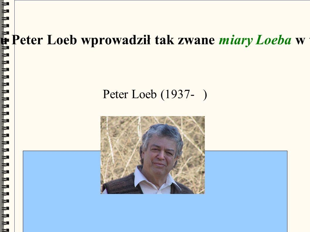 W 1970 roku Peter Loeb wprowadził tak zwane miary Loeba w teorii miary Peter Loeb (1937- )