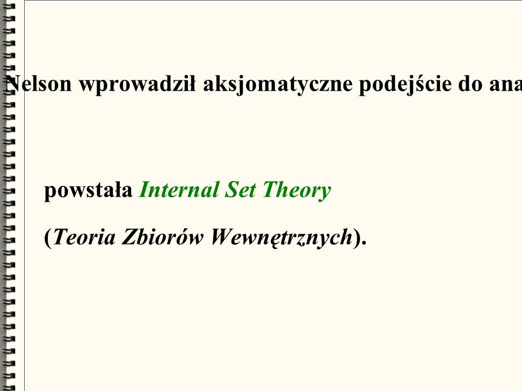 W 1977 roku Edward Nelson wprowadził aksjomatyczne podejście do analizy niestandardowej: powstała Internal Set Theory (Teoria Zbiorów Wewnętrznych).