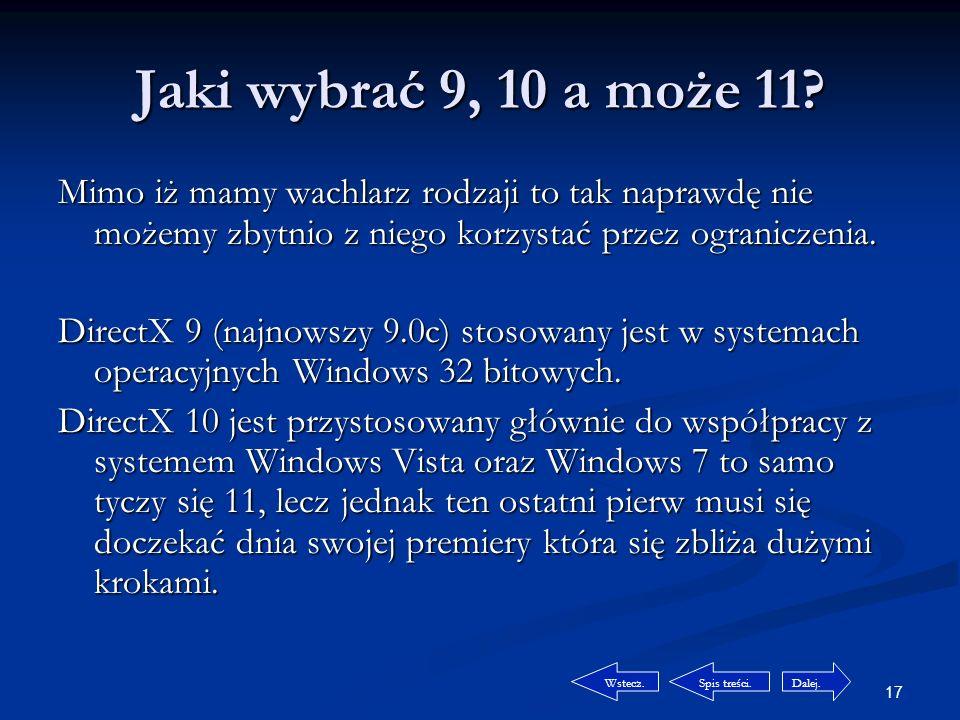 16 Wspomaganie… czyli co to takiego DirectX.