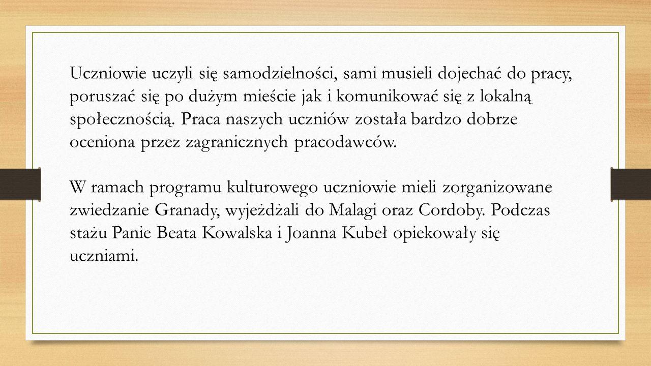 W ramach projektu 12 uczniów z klas drugiej i trzeciej technikum agrobiznesu w Zespole Szkół Powiatowych w Łysych, którzy zgłosili się i zostali zakwalifikowani do udziału w projekcie, w okresie od 24.01.2016 do 21.02.2016 uczestniczyło w stażu zawodowym.