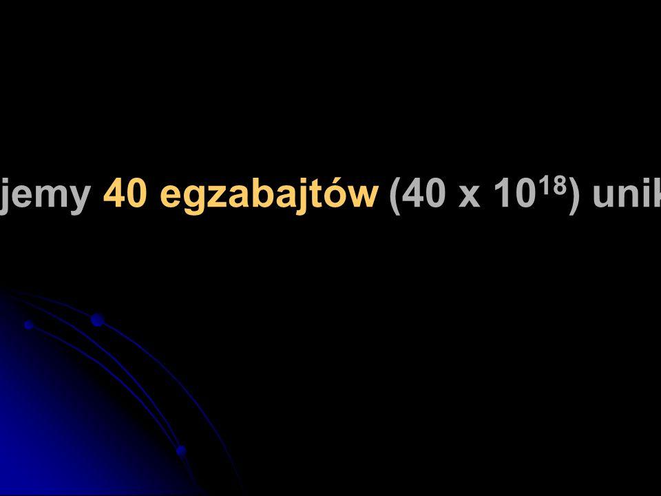 W tym roku wyprodukujemy 40 egzabajtów (40 x 10 18 ) unikalnej, nowej informacji.