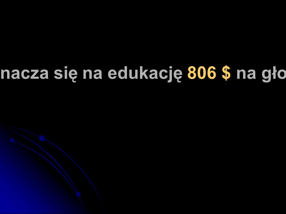 W Polsce przeznacza się na edukację 806 $ na głowę mieszkańca.