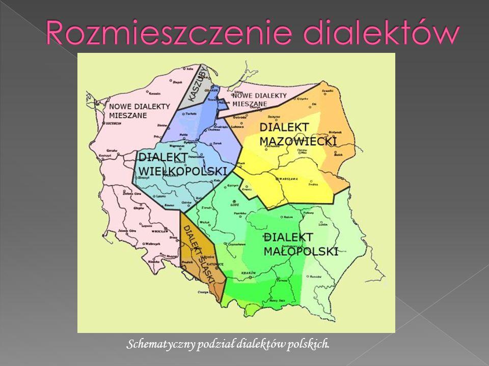Schematyczny podział dialektów polskich.