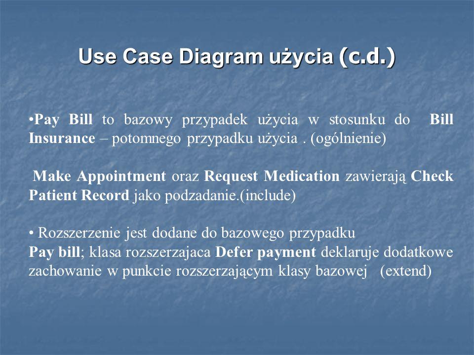 Use Case Diagram użycia (c.d.) Pay Bill to bazowy przypadek użycia w stosunku do Bill Insurance – potomnego przypadku użycia.