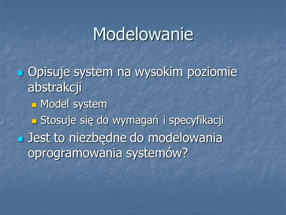 Modelowanie Opisuje system na wysokim poziomie abstrakcji Opisuje system na wysokim poziomie abstrakcji Model system Model system Stosuje się do wymagań i specyfikacji Stosuje się do wymagań i specyfikacji Jest to niezbędne do modelowania oprogramowania systemów.