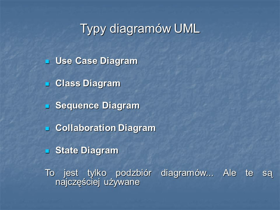 Typy diagramów UML Use Case Diagram Use Case Diagram Class Diagram Class Diagram Sequence Diagram Sequence Diagram Collaboration Diagram Collaboration
