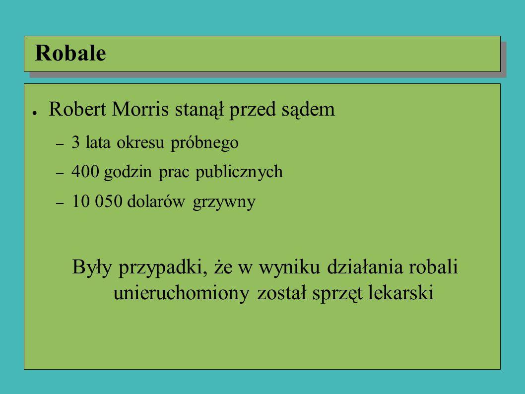 Robale ● Robert Morris stanął przed sądem – 3 lata okresu próbnego – 400 godzin prac publicznych – 10 050 dolarów grzywny Były przypadki, że w wyniku działania robali unieruchomiony został sprzęt lekarski