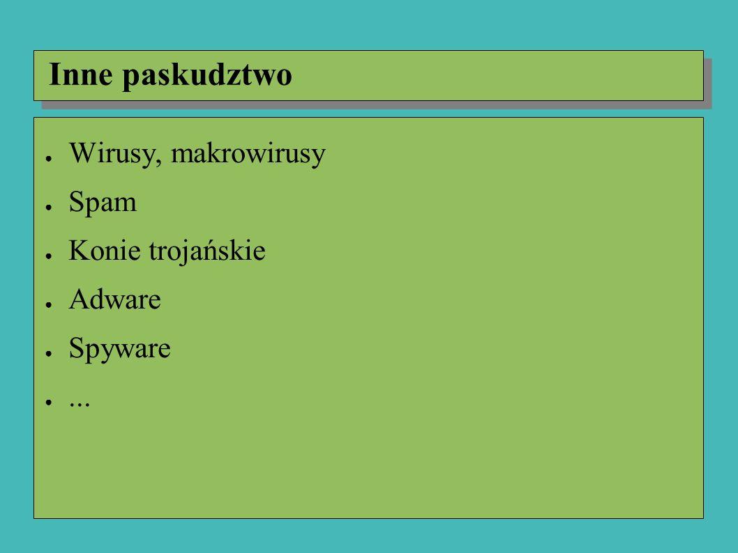 Inne paskudztwo ● Wirusy, makrowirusy ● Spam ● Konie trojańskie ● Adware ● Spyware ●...