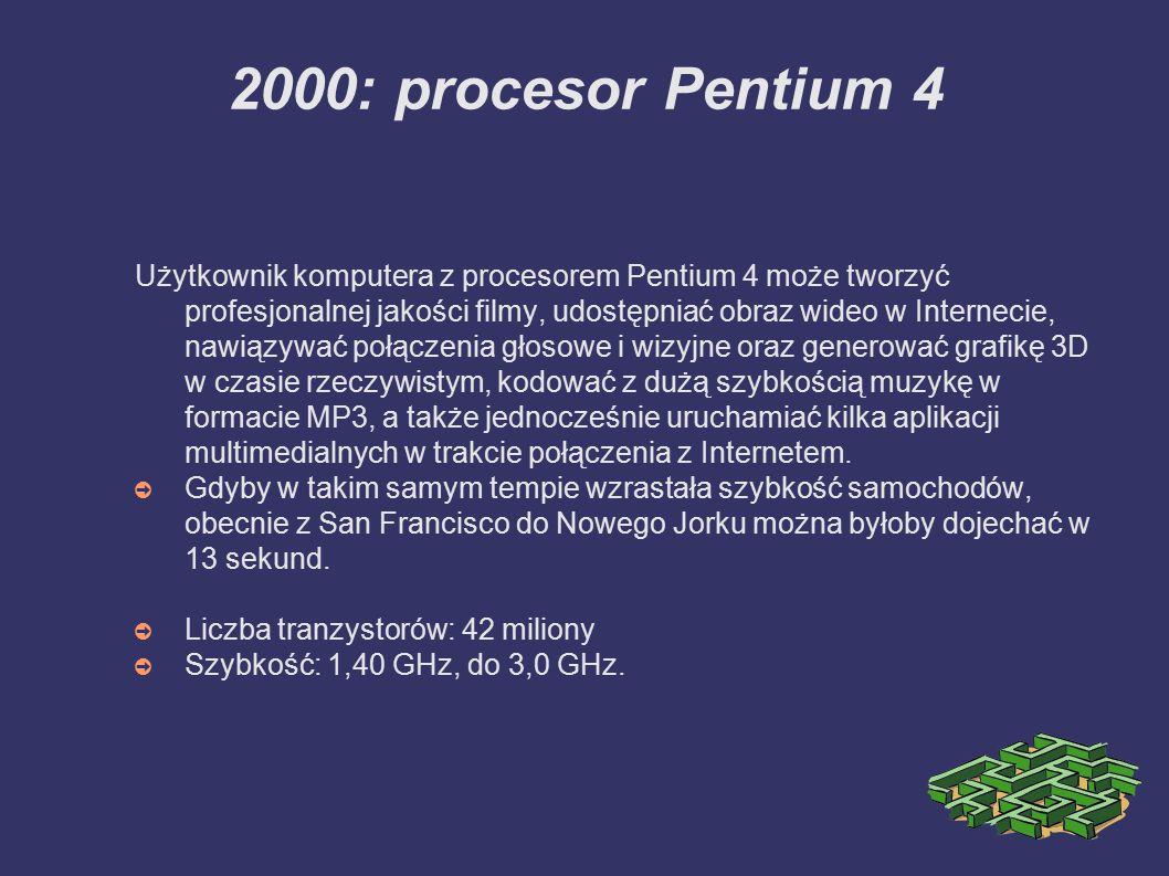 2000: procesor Pentium 4 Użytkownik komputera z procesorem Pentium 4 może tworzyć profesjonalnej jakości filmy, udostępniać obraz wideo w Internecie,