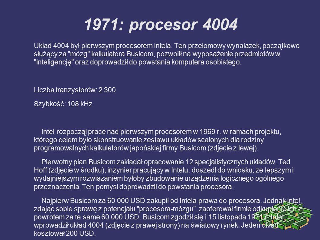 2000: procesor Pentium 4 Użytkownik komputera z procesorem Pentium 4 może tworzyć profesjonalnej jakości filmy, udostępniać obraz wideo w Internecie, nawiązywać połączenia głosowe i wizyjne oraz generować grafikę 3D w czasie rzeczywistym, kodować z dużą szybkością muzykę w formacie MP3, a także jednocześnie uruchamiać kilka aplikacji multimedialnych w trakcie połączenia z Internetem.