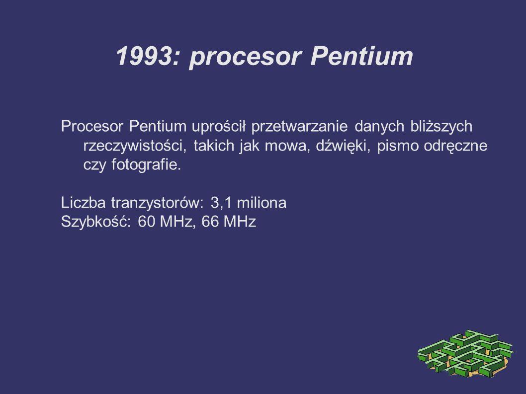 1997: procesor Pentium II Zawierający 7,5 miliona tranzystorów Pentium II wyposażony jest w technologię Intel MMX, stworzoną w celu wydajnego przetwarzania danych audio i wideo oraz obrazów.
