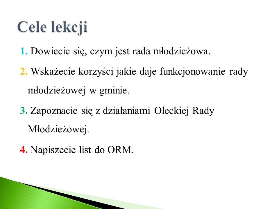 List do Oleckiej Rady Młodzieżowej Nasze pomysły/prośby do zrealizowania przez nowo wybraną radę 2016 r.