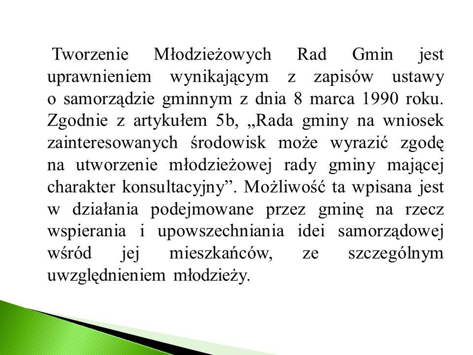 Tworzenie Młodzieżowych Rad Gmin jest uprawnieniem wynikającym z zapisów ustawy o samorządzie gminnym z dnia 8 marca 1990 roku.
