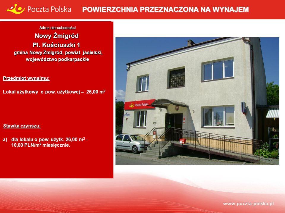 POWIERZCHNIA PRZEZNACZONA NA WYNAJEM - Adres nieruchomości Adres nieruchomości Nowy Żmigród Pl.