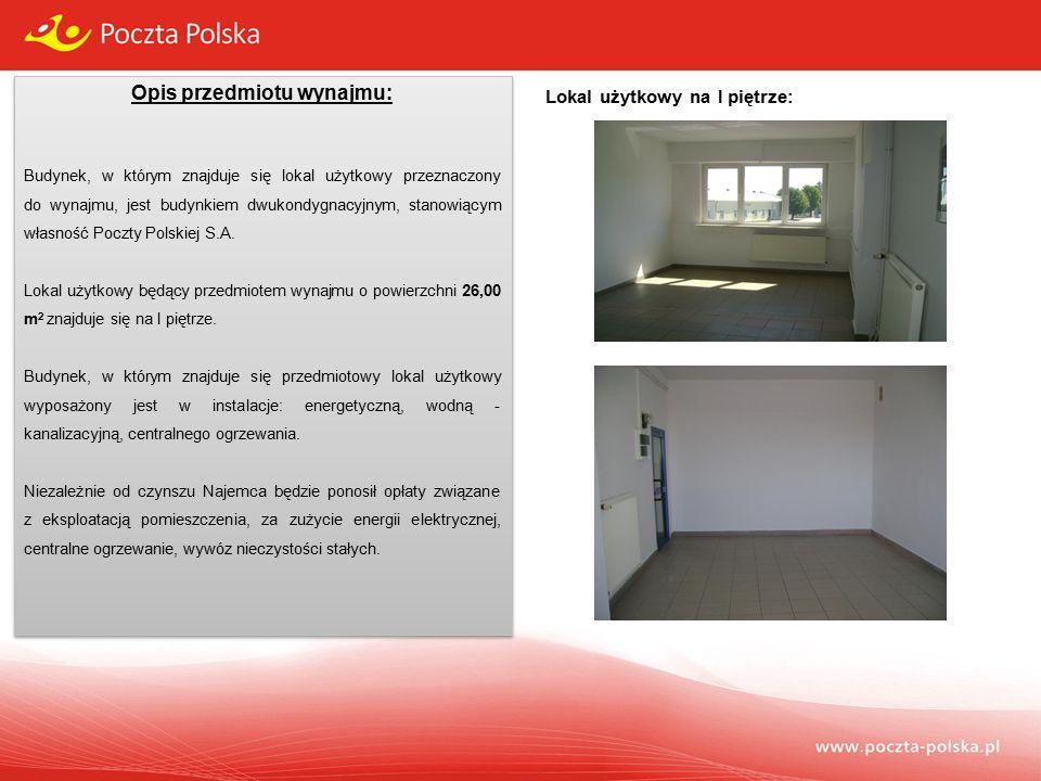 Opis przedmiotu wynajmu: Budynek, w którym znajduje się lokal użytkowy przeznaczony do wynajmu, jest budynkiem dwukondygnacyjnym, stanowiącym własność Poczty Polskiej S.A.