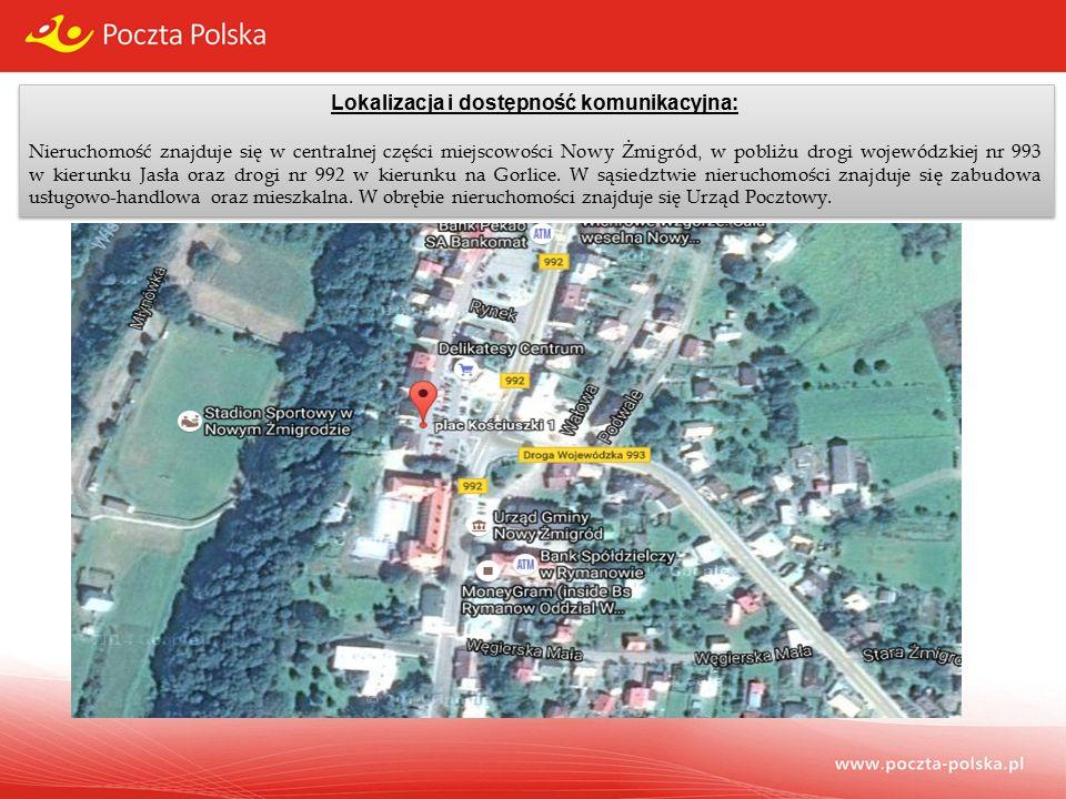 Lokalizacja i dostępność komunikacyjna: Nieruchomość znajduje się w centralnej części miejscowości Nowy Żmigród, w pobliżu drogi wojewódzkiej nr 993 w kierunku Jasła oraz drogi nr 992 w kierunku na Gorlice.
