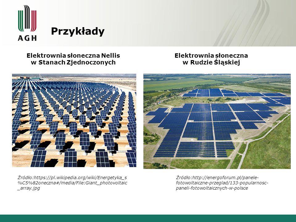 Przykłady Elektrownia słoneczna Nellis w Stanach Zjednoczonych Źródło:https://pl.wikipedia.org/wiki/Energetyka_s %C5%82oneczna#/media/File:Giant_photovoltaic _array.jpg www.instalacjebudowlane.pl Elektrownia słoneczna w Rudzie Śląskiej Źródło:http://energoforum.pl/panele- fotowoltaiczne-przeglad/133-popularnosc- paneli-fotowoltaicznych-w-polsce www.instalacjebudowlane.pl www.instalacjebudowlane.pl