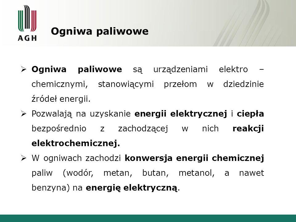 Ogniwa paliwowe  Ogniwa paliwowe są urządzeniami elektro – chemicznymi, stanowiącymi przełom w dziedzinie źródeł energii.