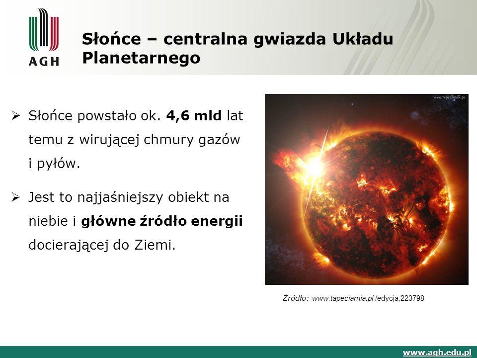 Słońce – centralna gwiazda Układu Planetarnego  Słońce powstało ok.