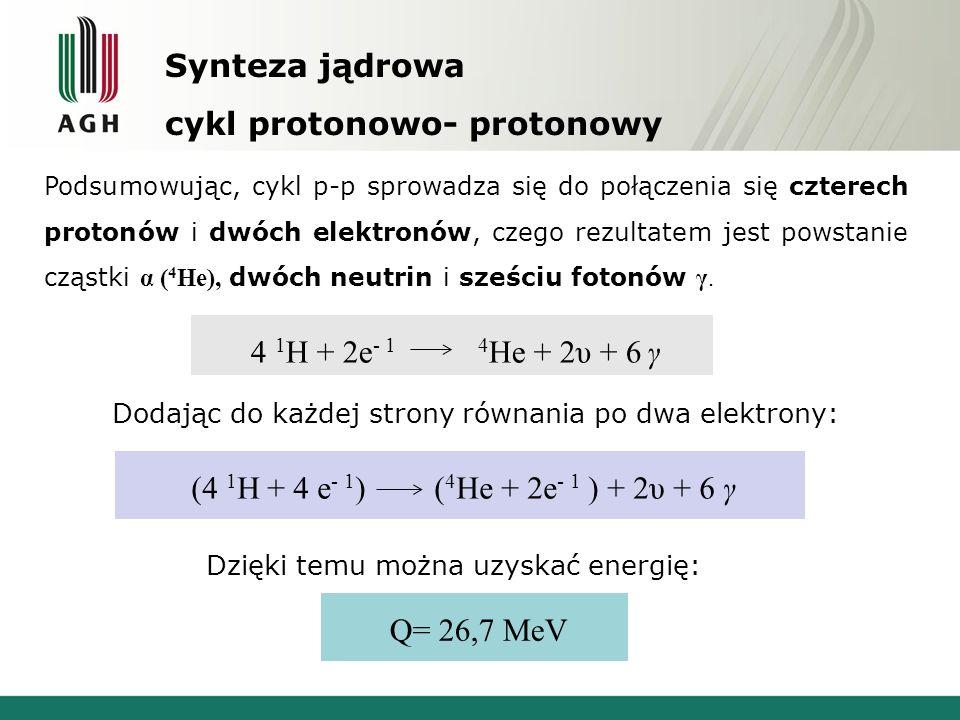 Synteza jądrowa cykl protonowo- protonowy Podsumowując, cykl p-p sprowadza się do połączenia się czterech protonów i dwóch elektronów, czego rezultatem jest powstanie cząstki α ( 4 He), dwóch neutrin i sześciu fotonów γ.