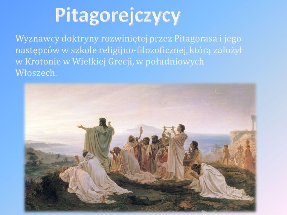 Wyznawcy doktryny rozwiniętej przez Pitagorasa i jego następców w szkole religijno-filozoficznej, którą założył w Krotonie w Wielkiej Grecji, w południowych Włoszech.