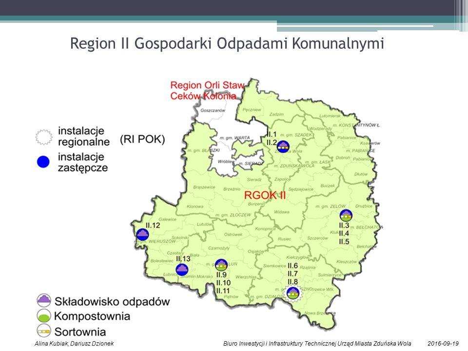 2016-09-19Alina Kubiak, Dariusz Dzionek Biuro Inwestycji i Infrastruktury Technicznej Urząd Miasta Zduńska Wola Region II Gospodarki Odpadami Komunalnymi