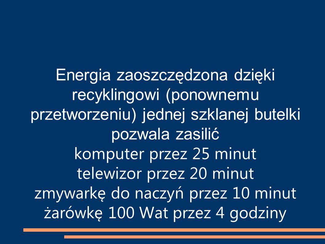 Energia zaoszczędzona dzięki recyklingowi (ponownemu przetworzeniu) jednej szklanej butelki pozwala zasilić komputer przez 25 minut telewizor przez 20 minut zmywarkę do naczyń przez 10 minut żarówkę 100 Wat przez 4 godziny