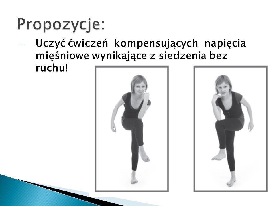 - Uczyć ćwiczeń kompensujących napięcia mięśniowe wynikające z siedzenia bez ruchu!