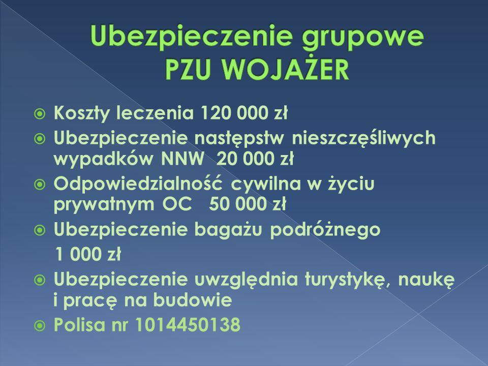  Koszty leczenia 120 000 zł  Ubezpieczenie następstw nieszczęśliwych wypadków NNW 20 000 zł  Odpowiedzialność cywilna w życiu prywatnym OC 50 000 z