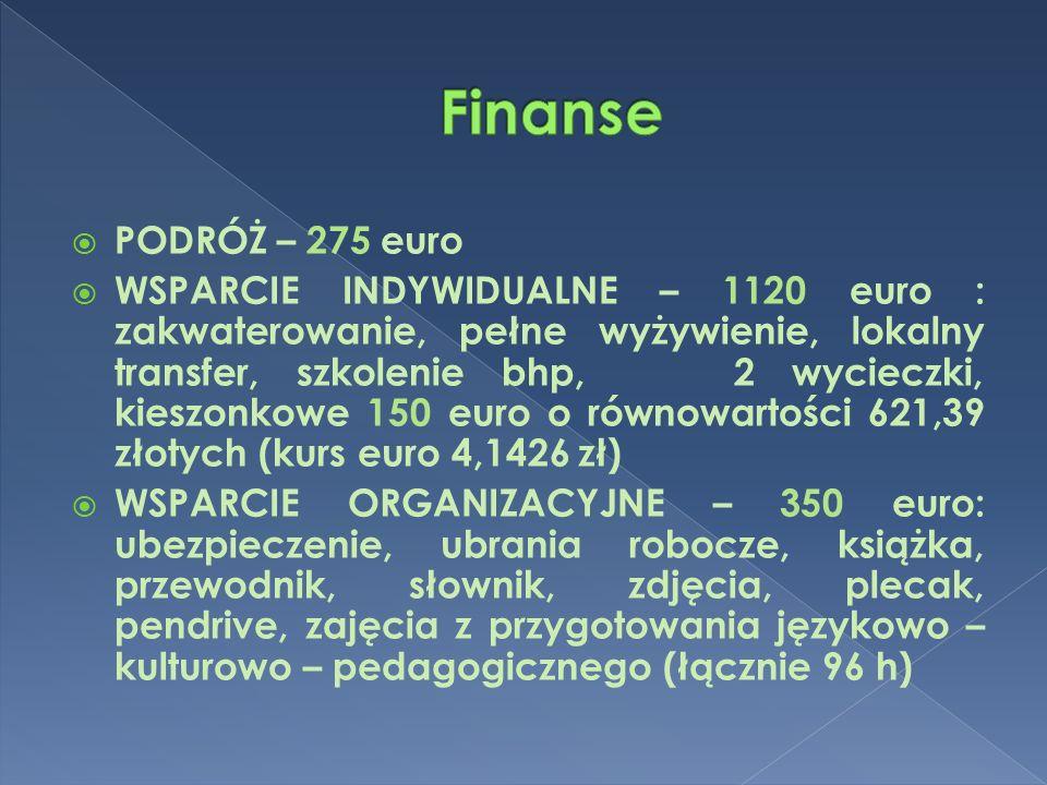  PODRÓŻ – 275 euro  WSPARCIE INDYWIDUALNE – 1120 euro : zakwaterowanie, pełne wyżywienie, lokalny transfer, szkolenie bhp, 2 wycieczki, kieszonkowe