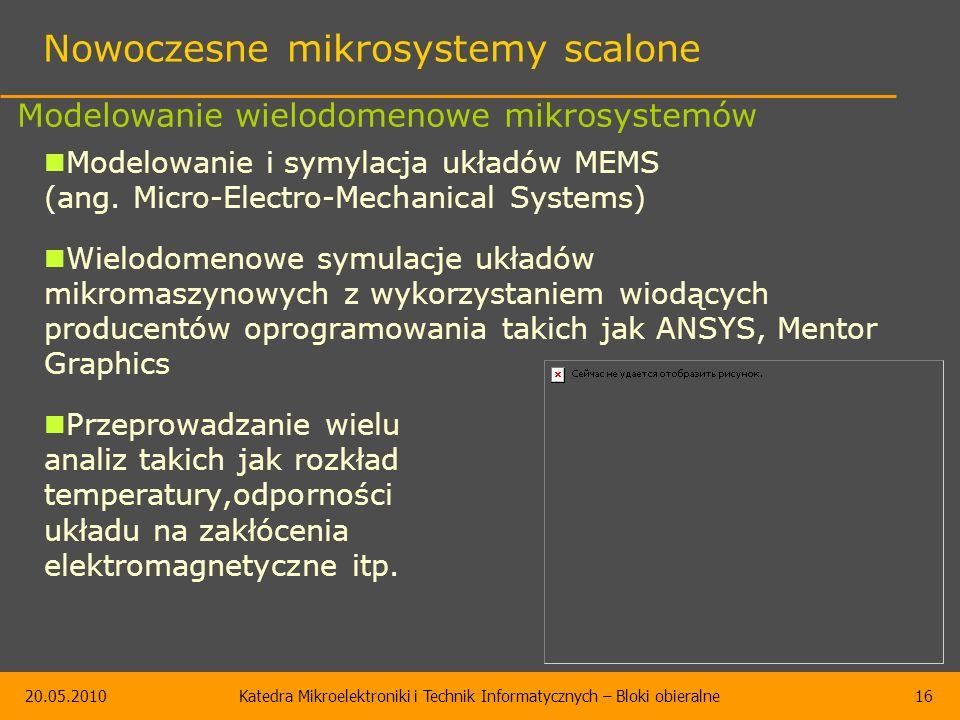 20.05.2010Katedra Mikroelektroniki i Technik Informatycznych – Bloki obieralne16 Nowoczesne mikrosystemy scalone Modelowanie i symylacja układów MEMS (ang.
