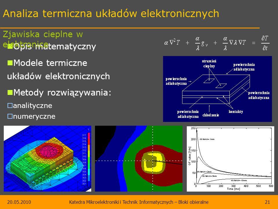 20.05.2010Katedra Mikroelektroniki i Technik Informatycznych – Bloki obieralne21 Analiza termiczna układów elektronicznych Opis matematyczny Modele termiczne układów elektronicznych Metody rozwiązywania:  analityczne  numeryczne Zjawiska cieplne w elektronice